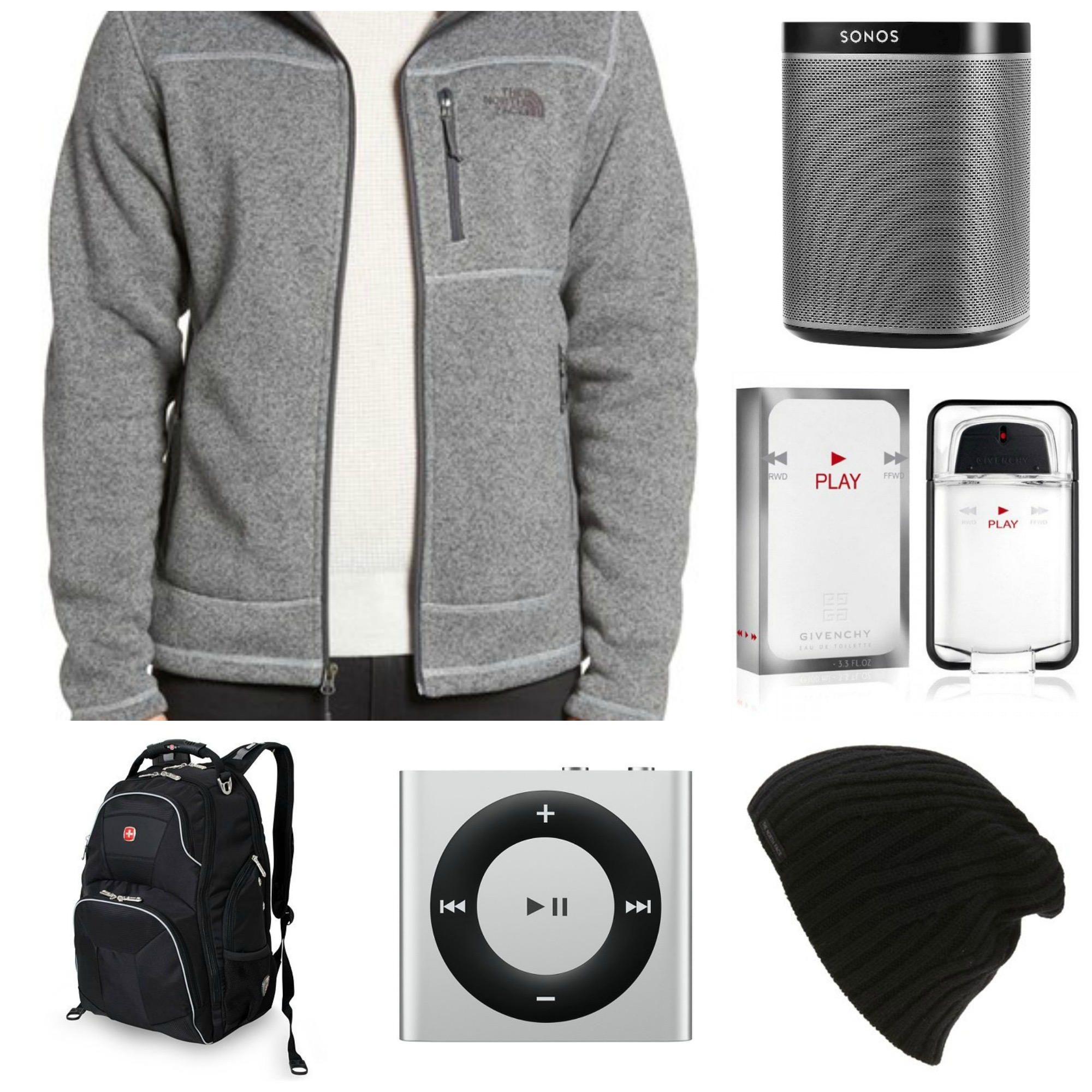 The North Face Fleece Hoodie, The North Face Beanie, Sonos Play 1 Speaker, Ipod Shuffle, Givenchy Play Toilette Spray, Swiss Gear Backpack