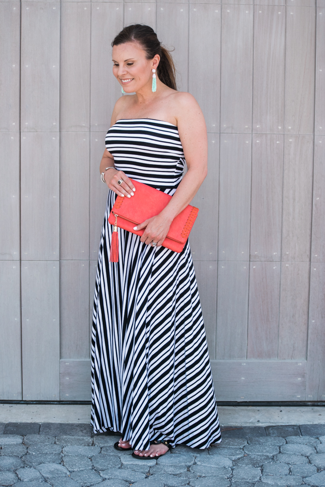 felicity&coco strapless maxi dress, baublebar pinata tassel earrings, tory burch miller flip flop