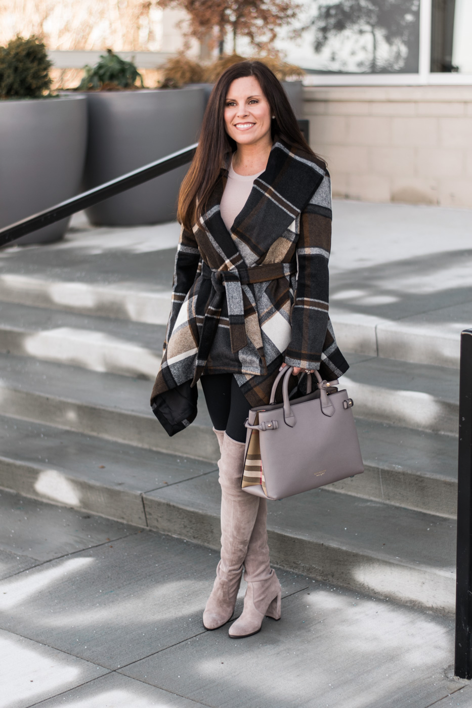 chic wish prairie plaid coat, zella leggins, stuart weitzman hiline boots, burberry banner house check tote