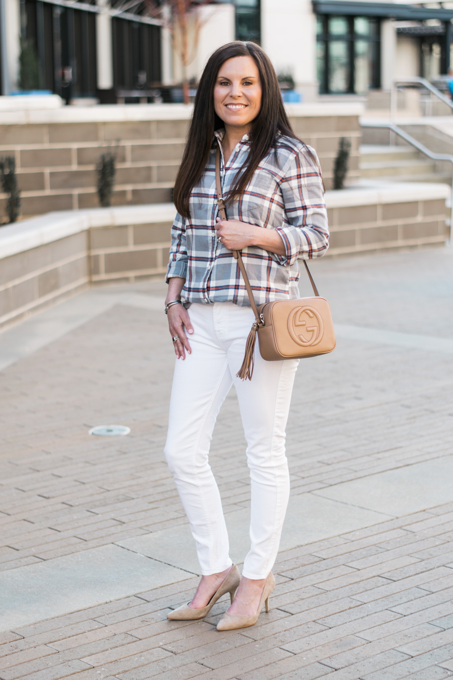 J.Crew Classic Plaid Boy Shirt, Gucci Disco Bag, 7 for all mankind white skinny jeans, Marc Jacobs heel