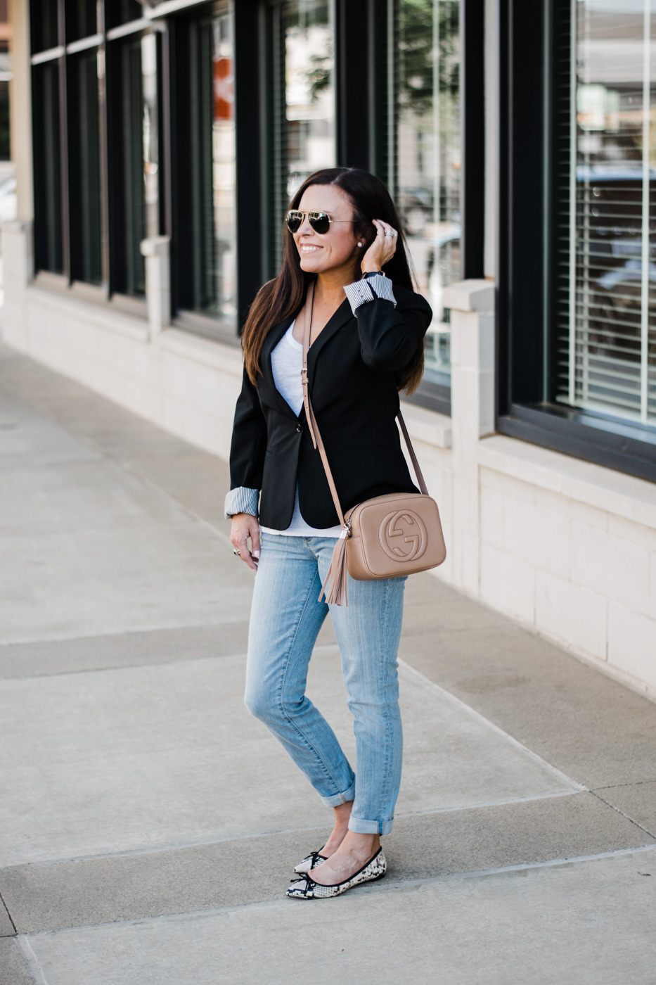 Banana Republic Italian Wool Blazer, Banana Republic Ballet Flat, Gucci Disco Bag, Ray Ban Aviators