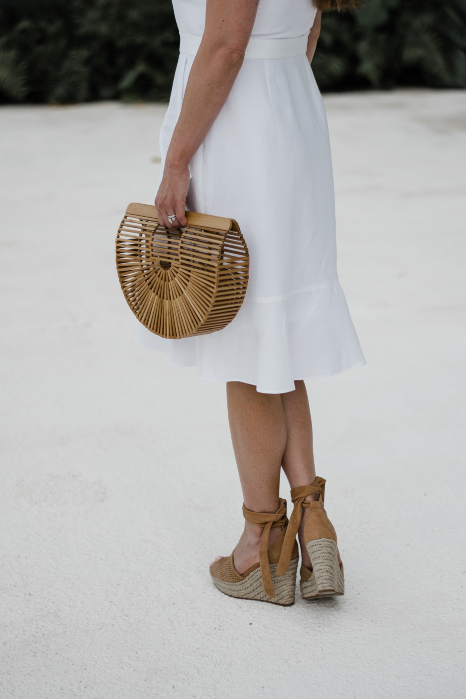Banana Republic Wrap Dress, Cult Gaia Bag, Splendid Espadrille