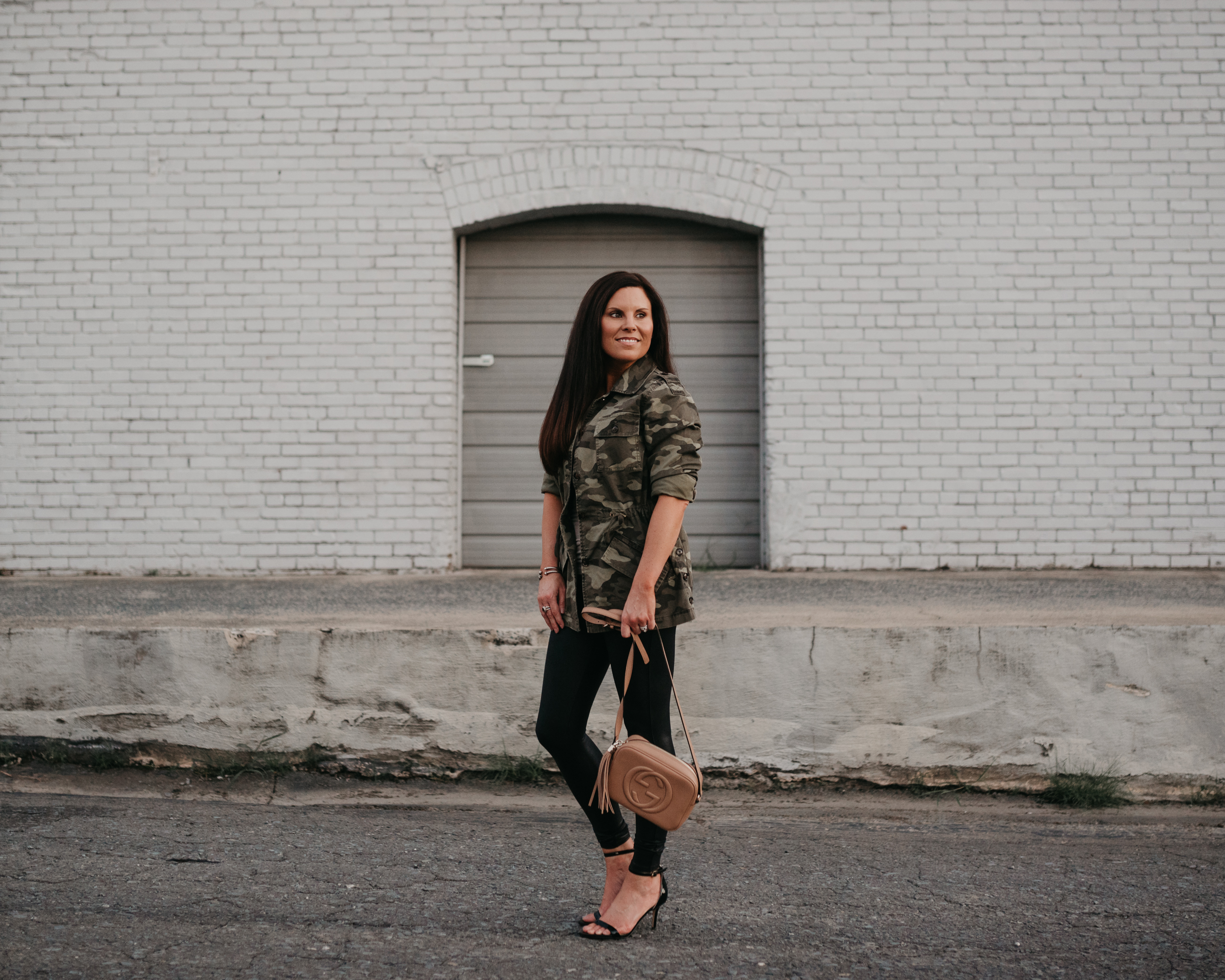 Spanx faux leather leggings, Banana Republic Camo Shirt Jacket, Sam Edelman heels, Gucci Disco Bag